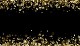 Black winter background with golden snowflakes. Black winter background with golden snowflakes pattern. Vector illustration Royalty Free Stock Photos