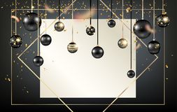 Golden holiday frame-01. Black winter decoration with shiny balls on trendy geometric frame. Dark Christmas holiday template for banners, advertising, leaflet stock illustration