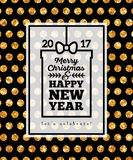 Black Winter Holidays Poster with Gold Polka Dots Royalty Free Stock Images