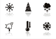 Black winter icons Stock Photos
