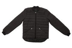 Black winter jacket. Isolated on white background Stock Photos