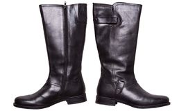 Black winter leather boots Stock Photo