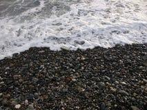 Black winter sea 2. Cold black winter sea. Sochi, Russia stock photography