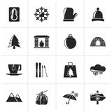 Black Winter, Sport and relax icons. Vector icon set Stock Image
