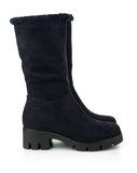 Black winter suede boots Stock Photo