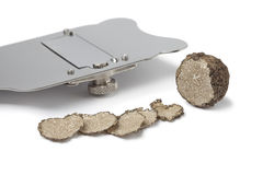 Black winter truffle and slicer Royalty Free Stock Photo