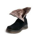 Black wintry womanish boot Stock Photo