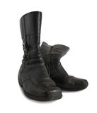Black wintry womanish boots Stock Images