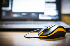 Black wired computer mouse closeup. Royalty Free Stock Image