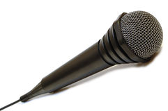 Black Wired Karaoke Microphone. Royalty Free Stock Images
