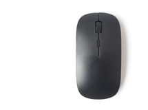 Black wireless computer mouse on white background, technology co Stock Photos