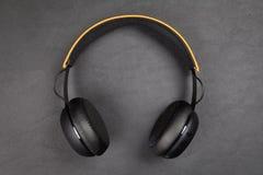 Black wireless headphones Stock Images