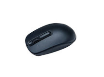 Black wireless optical computer mouse isolated on white backgrou Royalty Free Stock Photography