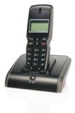 Black wireless phone. And docking station royalty free stock images