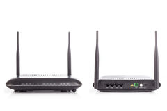 Black Wireless Router isolated on white background Royalty Free Stock Photo