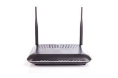 Black Wireless Router isolated on white background Stock Photography