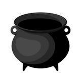 Black witches cauldron. Old black witches cauldron isolated on white Stock Image