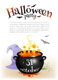 Black witches cauldron with orange brew and. Halloween date sign, vector poster template stock illustration