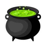 Black witches cauldron with potion. Old black witches cauldron with green potion isolated on white Royalty Free Stock Photo