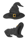 Black witches hats. Halloween theme, set of black witches hats with golden buckle isolated on white background, illustration Stock Photo