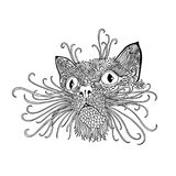 Black and wite cat with ethnic floral ornaments for adult coloring book. Zentagle pattern. Vector doodle illustration Royalty Free Stock Image