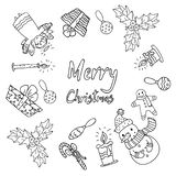 Black and wite set of vector icons for Christmas in cute cartoons style royalty free illustration