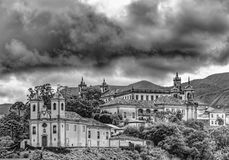Black and withe view of Ouro Preto. Black and withe view of historic chuches at city of Ouro Preto im Minas Gerais Royalty Free Stock Photo