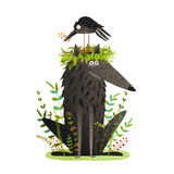 Black Wolf and Crow Sitting on Head Friendship Royalty Free Stock Photo