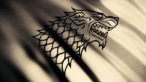 Black wolf grin silhouette on fluttering abstract flag of beige color, seamless loop. Head of direwolf as an emblem of. Stark house, game of thrones concept stock photography