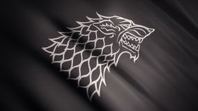 Black wolf grin silhouette on fluttering abstract flag of grey color, seamless loop. Monochrome direwolf as an emblem of. Stark house, game of thrones concept stock photography