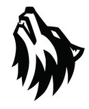 Black wolf howl emblem Royalty Free Stock Photos