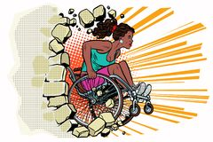 Black woman athlete in a wheelchair punches the wall. African American person in sports. Barrier-free environment for disabled. pop art retro vector royalty free illustration