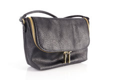 Black woman bag made of genuine leather Royalty Free Stock Image