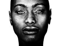 Black Woman Crying. A Striking Image of a Afro American Woman Crying Stock Photos