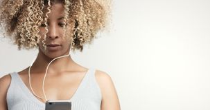 Black woman with curly afro hiar portrait Stock Image
