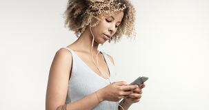 Black woman with curly afro hiar portrait Royalty Free Stock Images