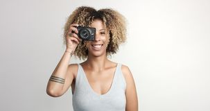 Black woman with curly afro hiar portrait Royalty Free Stock Photo