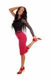 Black woman dancing on floor. stock photos
