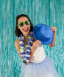 Black woman is dancing with hat in hand. Brazilian is costumed f. Pretty black woman is dancing and having fun. Happy Brazilian is costumed for the Carnival Royalty Free Stock Photo