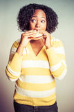 Black Woman Eating royalty free stock images