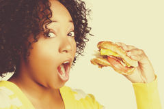 Black Woman Eating Royalty Free Stock Photo