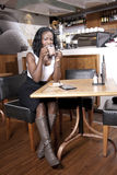 Black Woman enjoy relax at coffeeshop Stock Images