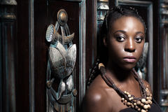 Black woman with ethnic necklace stock image