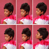 Black Woman with a feather boa Stock Image