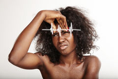Black woman with a firs wrinkles. Skin problems Stock Photos