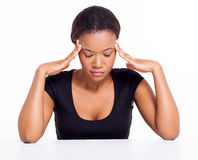 Black woman headache Stock Images