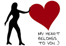 Black woman with heart Stock Photo