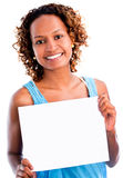 Black woman holding a banner Stock Photos