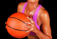 Black woman holding basketball Stock Image