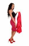 Black Woman Holding Jacket. Stock Image